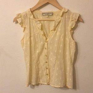 Anthropologie cream button down frill shirt